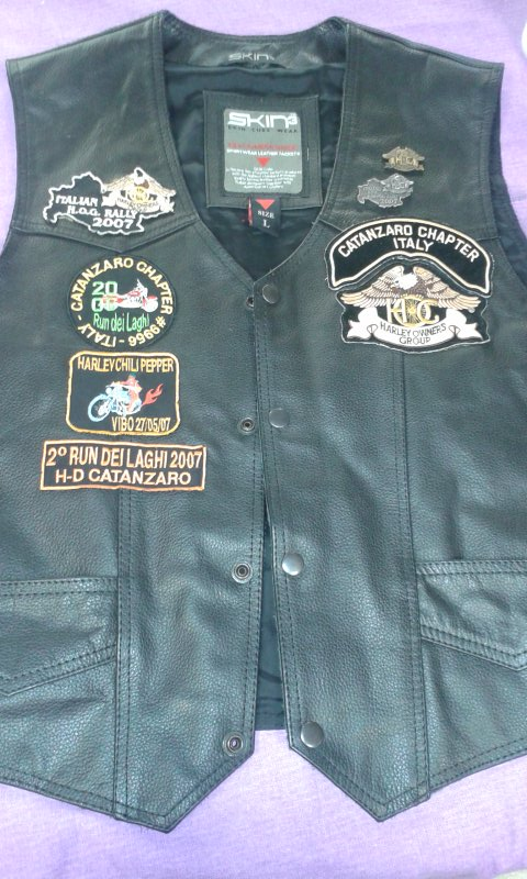 GILET DA MOTO SKIN3 CATANZARO CHAPTER ITALY HARLEY OWNERS GROUP