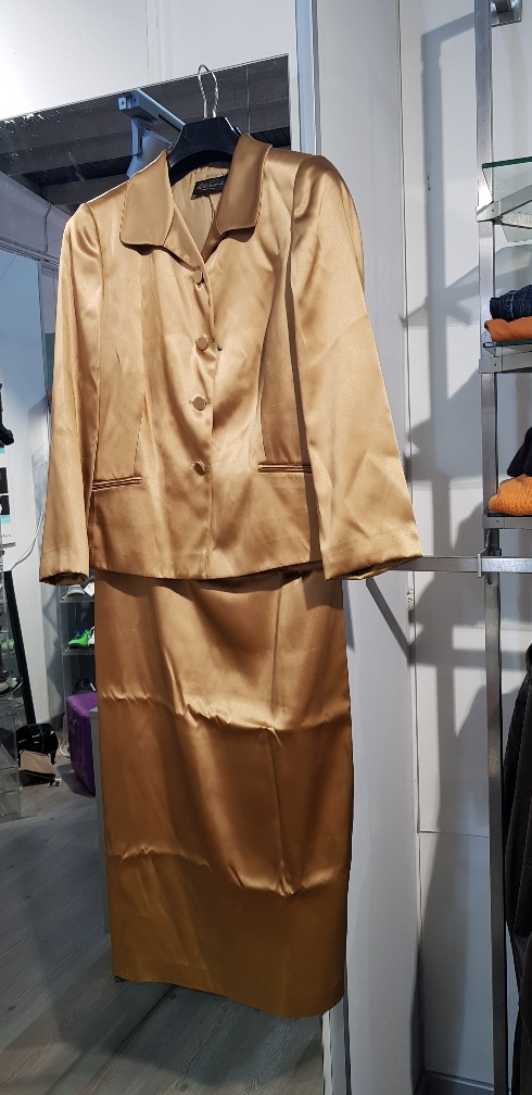 TAILLEUR DONNA COLOR ORO GIACCA + GONNA LUNGA LUISA SPAGNOLI TG. 46
