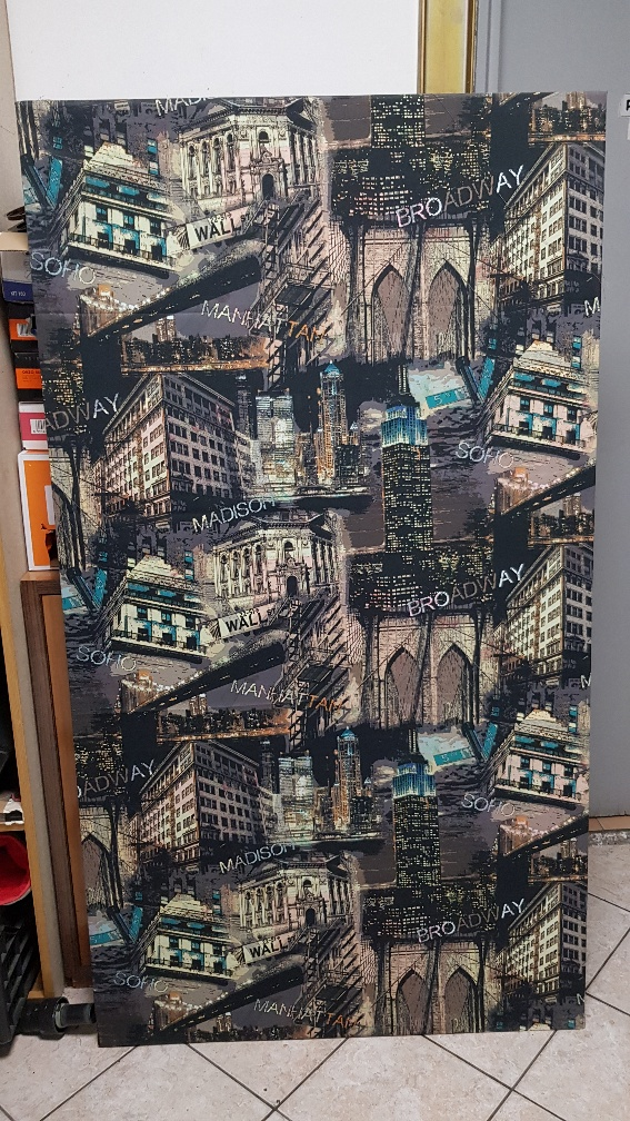 QUADRO TELA IN STOFFA  BROADWAY-MANHATTAN  (CM 90 X CM 164)