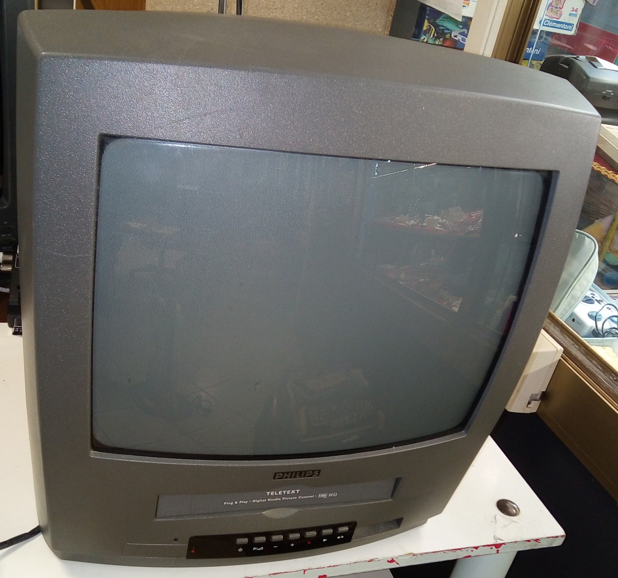 TV COLOR 15 POLLICI CON VHS PHILIPS (SENZA TELECOMANDO)