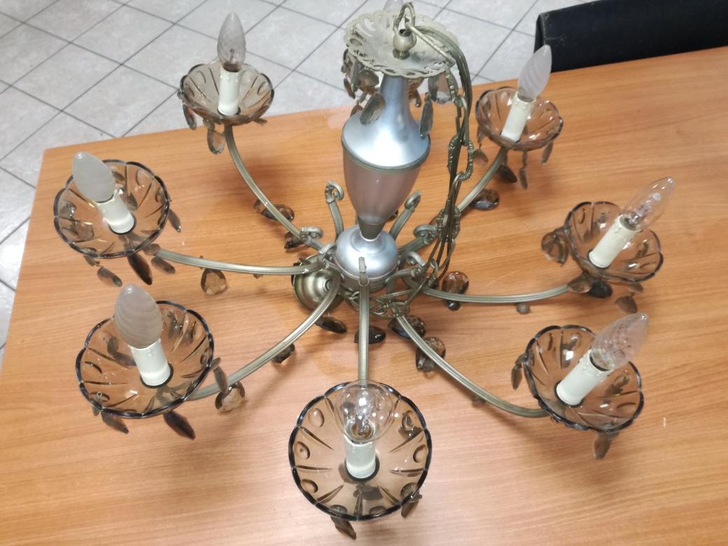Catanzaro lampadario a tre luci in ottone con gocce mercatino dell