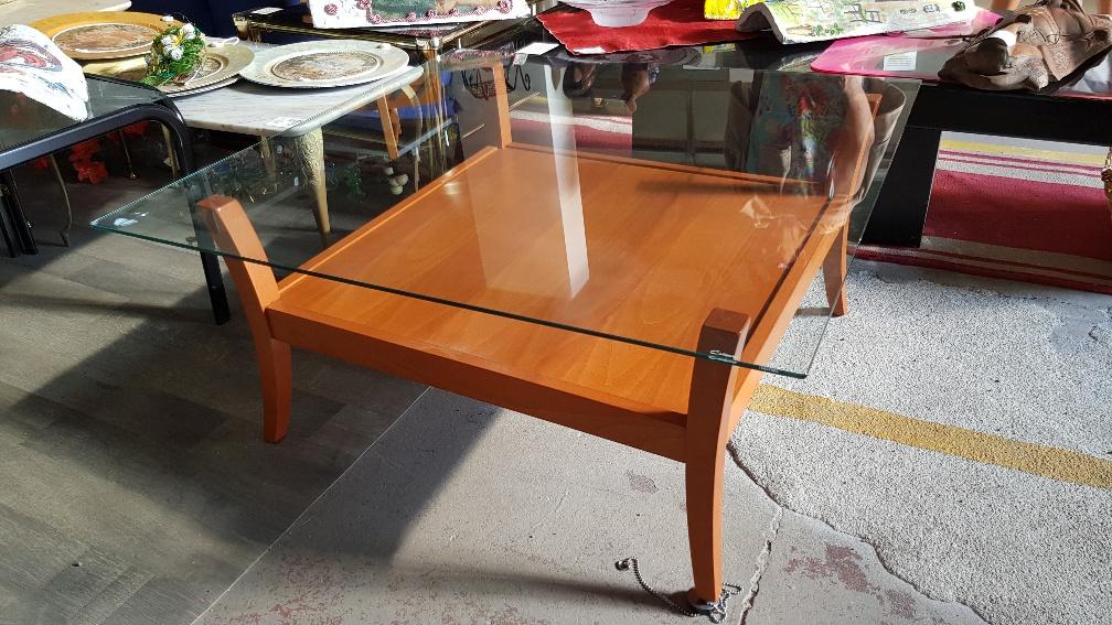 Tavolino Salotto Verde : Catanzaro tavolino salotto in legno ciliegio e piano in vetro