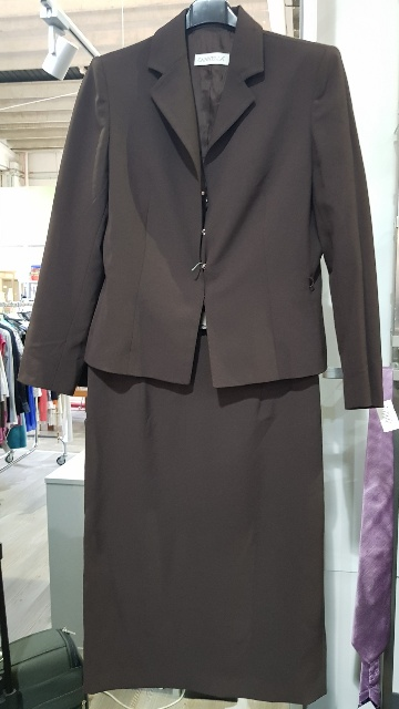 TAILLEUR DONNA MARRONE GIACCA + GONNA  CANNELLA TG.48